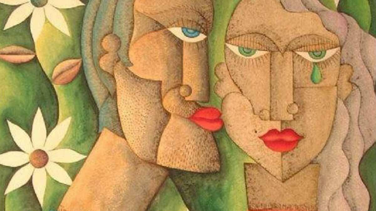 Dos caras de hombre y mujer